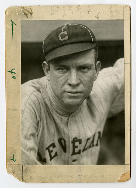 "Tris Speaker was Joe Sewell's manager during the majority of his time with the Cleveland Indians. Sewell says in <a href=""http://collection.baseballhall.org/islandora/object/islandora%3A268693"">PASTIME</a> that Speaker caught him off guard when he was said he was to play shortstop after being in the major leagues for one day. (Charles Conlon / National Baseball Hall of Fame)"
