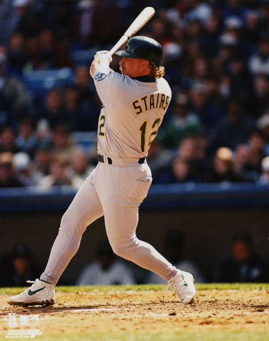 Matt Stairs batting in an Oakland Althetics uniform. (National Baseball Hall of Fame)