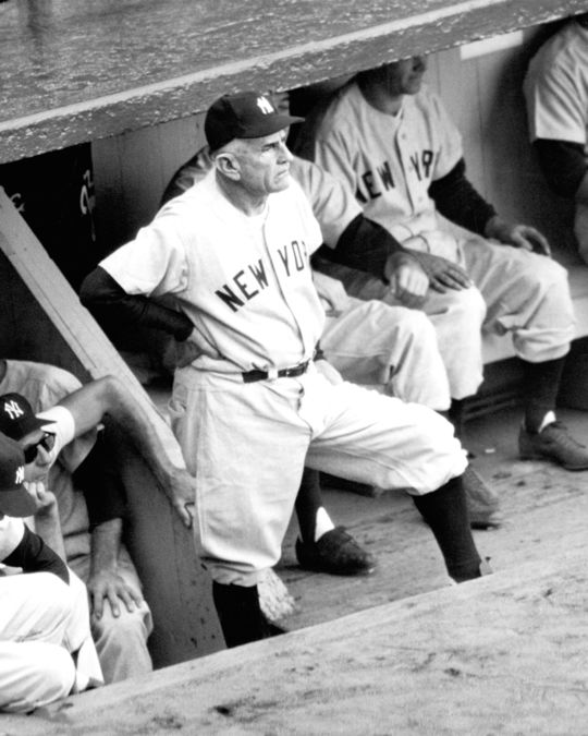 Casey Stengel led the Yankees to 10 AL pennants and seven World Series titles in 12 years as the skipper of the Bronx Bombers. (National Baseball Hall of Fame)