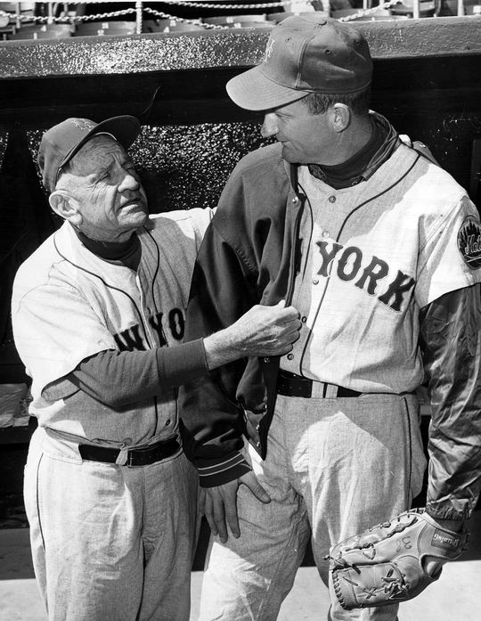 Many of Casey Stengel's players said they saw him as a father-figure of sorts, because of his ability to relate to them on a personal level. Pictured above, Stengel drapes a jacket over the shoulders of Mets pitcher Roger Craig. (National Baseball Hall of Fame and Museum)