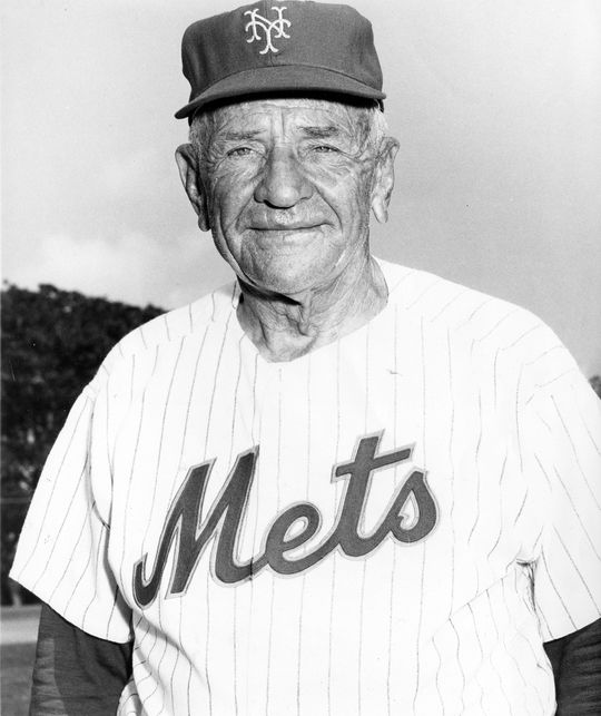 Casey Stengel (pictured above) managed Marv Throneberry with both the Yankees and the Mets. (National Baseball Hall of Fame and Museum)