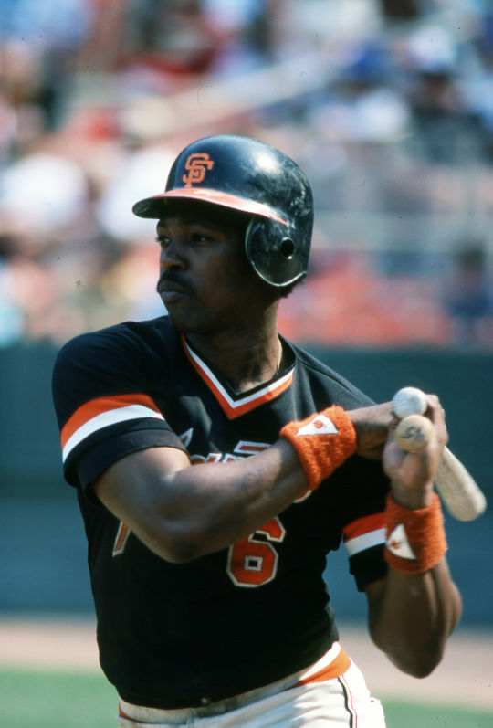 Posed batting shot of San Francisco Giants Rennie Stennett in 1990. BL-3036.2005 (Rich Pilling / National Baseball Hall of Fame Library)