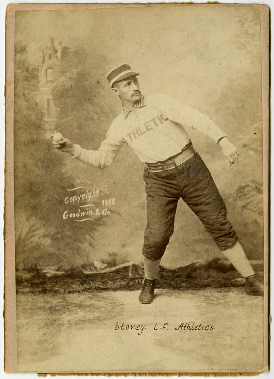 Old Judge cabinet card for Harry Stovey. Pose code 440-8. BL-764.64.6 (National Baseball Hall of Fame Library)