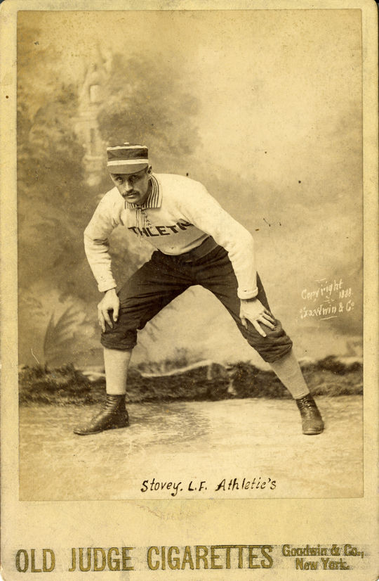 Harry Stovey Old Judge Cigarettes Card circa 1888. BL-141.46 (National Baseball Hall of Fame Library)