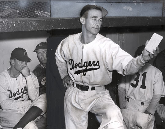 Clyde Sukeforth managed the Brooklyn Dodgers for the first two games of the 1947 season, when Jackie Robinson made his big league debut. (National Baseball Hall of Fame and Museum)