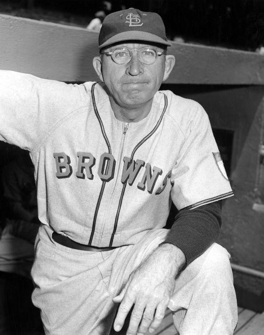 "Zack Taylor thoroughly enjoyed ""Grandstand Managers Night,"" as he watched the ""grandstand managers"" guide his St. Louis Browns to a 5-3 win against the Athletics. (National Baseball Hall of Fame)"