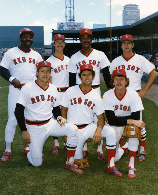 In 1977, George Scott (pictured in the top row, far left) returned to the Boston Red Sox, the team he began his career with in 1966. Above, he is pictured alongside his teammates in 1978 (from top left): Rick Burleson, Jim Rice, Carl Yastzremski, and from bottom left, Carlton Fisk, Fred Lynn and Bill Campbell. (National Baseball Hall of Fame and Museum)