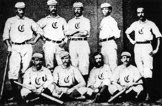 The 1869 Cincinnati Red Stockings were among the first openly professional baseball teams in history. They played their first official game of that season on May 4. (National Baseball Hall of Fame and Museum)