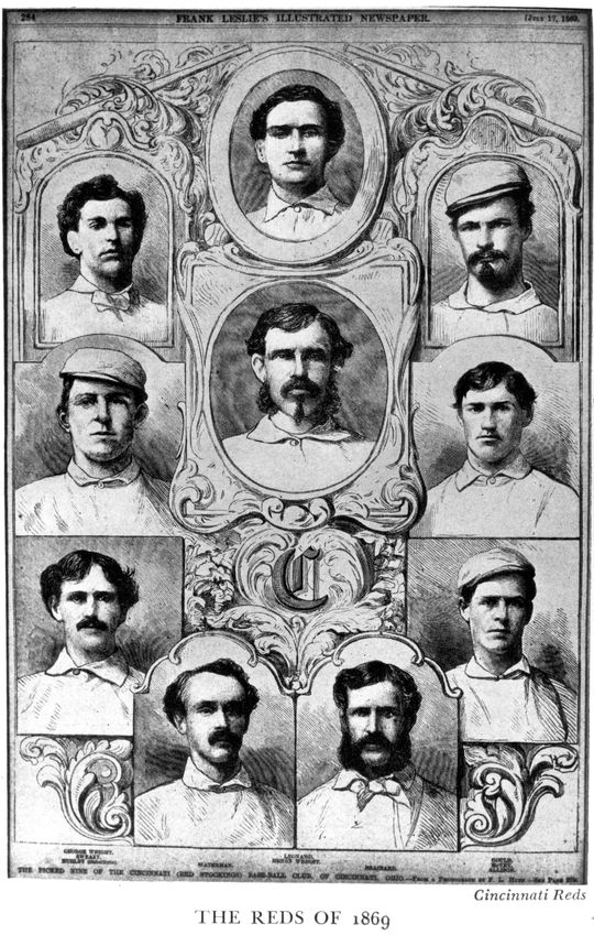 The 1869 Cincinnati Red Stockings featured future Hall of Famers George Wright and Harry Wright. (National Baseball Hall of Fame and Museum)