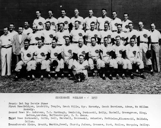 The Hall of Fame Game victors, the 1953 Cincinnati Reds. BL-793.69 (National Baseball Hall of Fame Library)