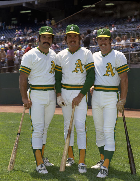 Oakland A's third baseman Sal Bando, outfielder Billy Conigliaro and catcher Gene Tenace pose for a picture in 1973. (Doug McWilliams/National Baseball Hall of Fame and Museum)