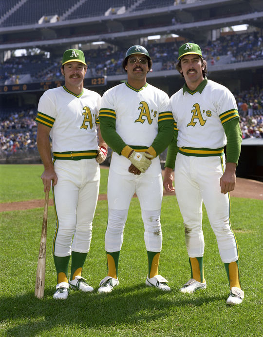 Reggie Jackson (pictured center) with his teammates Gene Tenace (left) and Ray Fosse (right). (Doug McWilliams / National Baseball Hall of Fame and Museum)