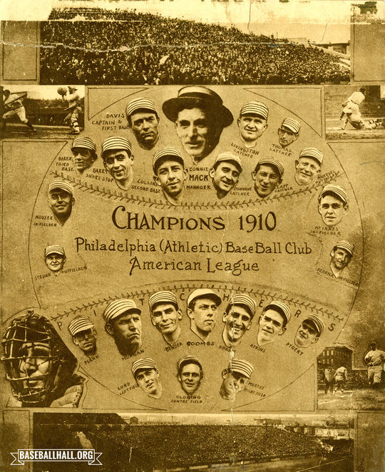 Under the helm of Hall of Famer Connie Mack, the Philadelphia Athletics won back to back World Series in 1910 and 1911. (National Baseball Hall of Fame and Museum)