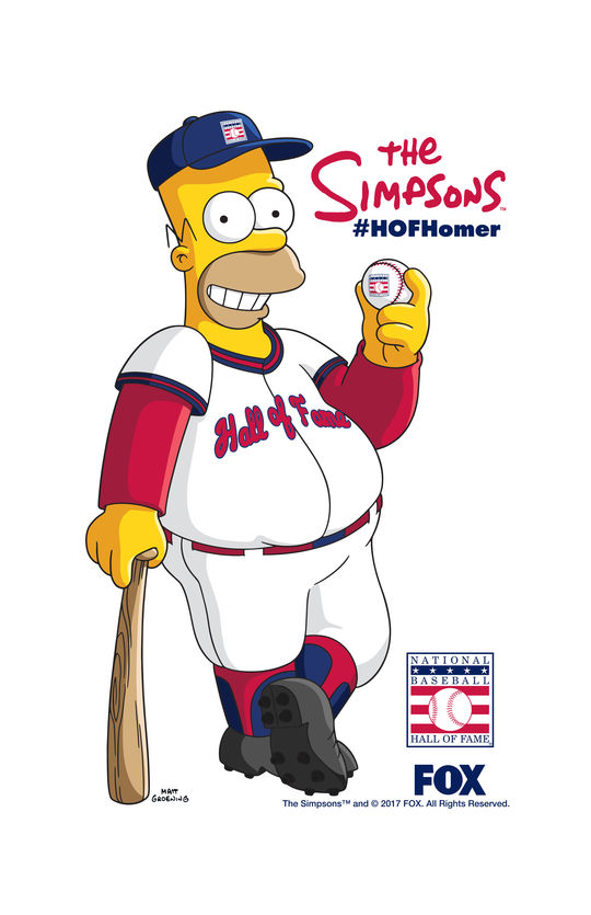 "Homer Simpson will be ""inducted"" into the Hall of Fame during THE SIMPSONS roundtable discussion at the 2017 Hall of Fame Classic. (Photo Courtesy of FOX)"