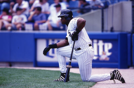 On May 15, 1996 Frank Thomas drove in six runs to total a single-game career high. (Ron Vesely/National Baseball Hall of Fame and Museum)