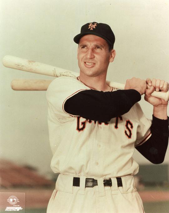 Bobby Thomson posed batting. BL-5548 (National Baseball Hall of Fame Library)