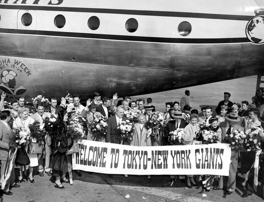 The New York Giants arrive in Japan in 1953. (National Baseball Hall of Fame and Museum)