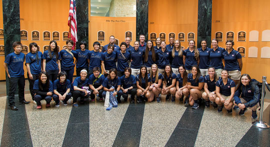 Members of the U.S. women's national baseball team and the Madonna Stars of Japan visited the National Baseball Hall of Fame and Museum on July 10. (Parker Fish / National Baseball Hall of Fame)