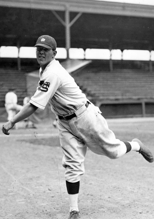 """Joe DiMaggio of the Yankees recorded three hits in his big league debut on May 3, 1936, the final one coming off of St. Louis Browns' relief pitcher Russ Van Atta. <a ref=""""http://collection.baseballhall.org/islandora/object/islandora%3A507390"""">PASTIME</a> (National Baseball Hall of Fame and Museum)"""