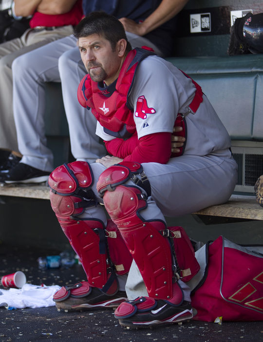 Jason Varitek, who spent his entire 15-year big league career with the Red Sox, shares the record for most no-hitters caught with four. (Brad Mangin/National Baseball Hall of Fame and Museum)