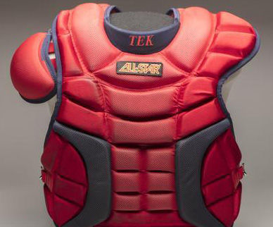 Jason Varitek wore this All-Star CP28PRO chest protector while catching Jon Lester's no-hitter on May 19, 2008. (Milo Stewart Jr./National Baseball Hall of Fame and Museum)