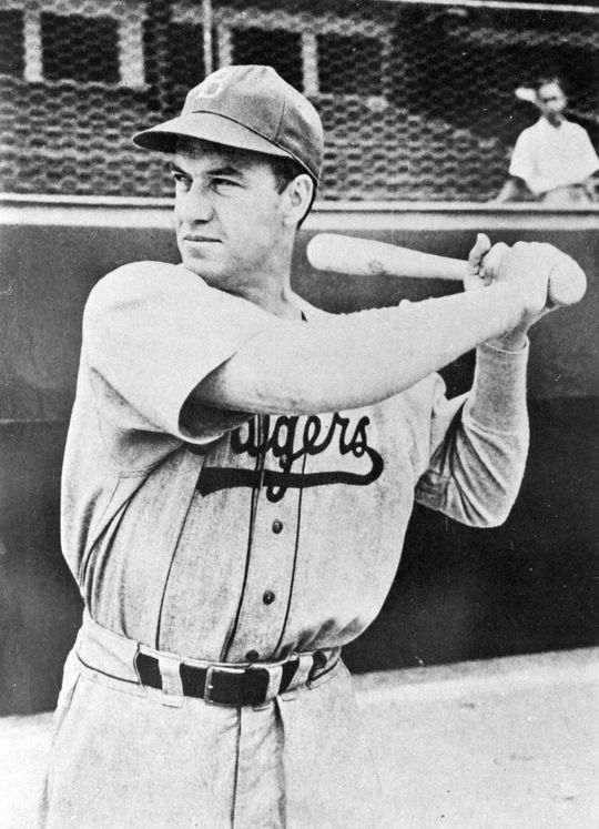 Arky Vaughan of the Brooklyn Dodgers posed batting. BL-6674.85 (National Baseball Hall of Fame Library)