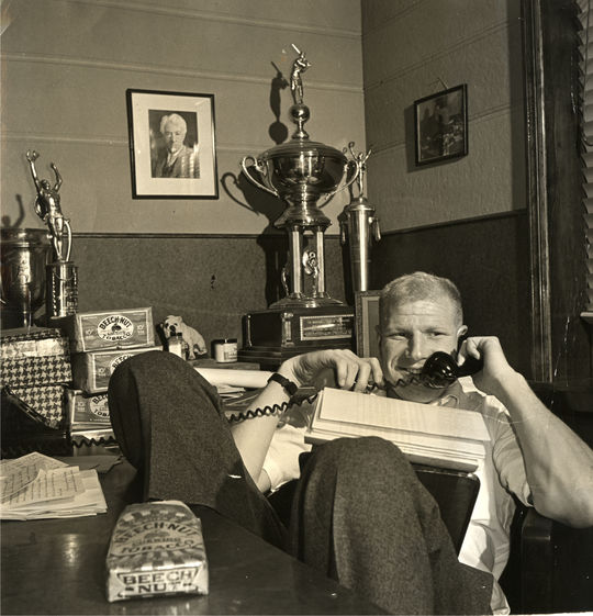 Bill Veeck photographed in his office in 1943. BL-4264.89 (National Baseball Hall of Fame Library)