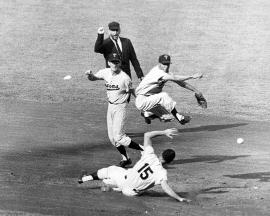 Minnesota Twins' Zoilo Versalles makes leaping play at second on Tom Tresh of the Yankees, 1962. BL-4027-68WTb (National Baseball Hall of Fame Library)