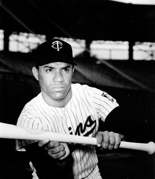 Zoilo Versalles of the Minnesota Twins posed as if he's about to bunt. BL-5574-70d (National Baseball Hall of Fame Library)