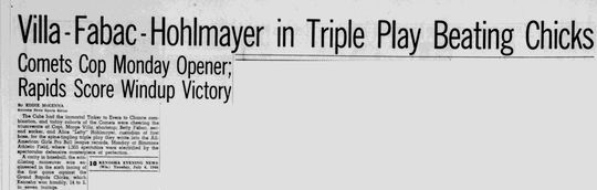 The newspaper write-up of the Kenosha Comets' famous triple play. (National Baseball Hall of Fame and Museum)