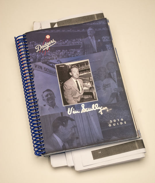 Vin Scully's 2016 Dodgers media guide is one of the latest additions to the Hall of Fame's collection. (Milo Stewart Jr. / National Baseball Hall of Fame)