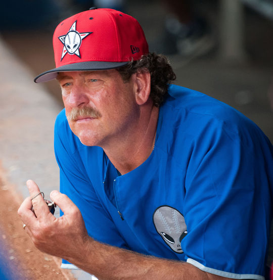 Frank Viola, the pitching coach of the Las Vegas 51s, in the dugout, 2013. BL-373-2015-39 (Matt Rinaldi / Las Vegas 51s / National Baseball Hall of Fame)