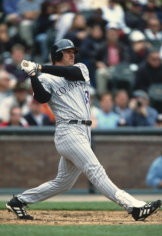 Larry Walker won the 1997 National League Most Valuable Player Award, hitting .366 with NL-leading totals in home runs (49), total bases (409, the 18th-best single-season total in history), on-base percentage (.452) and slugging percentage (.720). (Brad Mangin/National Baseball Hall of Fame and Museum)