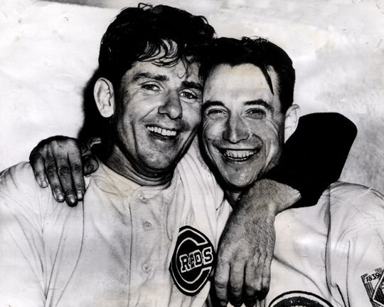 Buck Walters and Paul Derring, left, photographed together on September 28, 1938. BL-225.64c (National Baseball Hall of Fame Library)