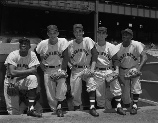 Five of the Cuban-born players on the Washington Senators, 1955: Carlos Paula, Pedro Ramos, Jose Valdivielso, Camilo Pascual and Juan Delis. (Osvaldo Salas Collection / National Baseball Hall of Fame Library)