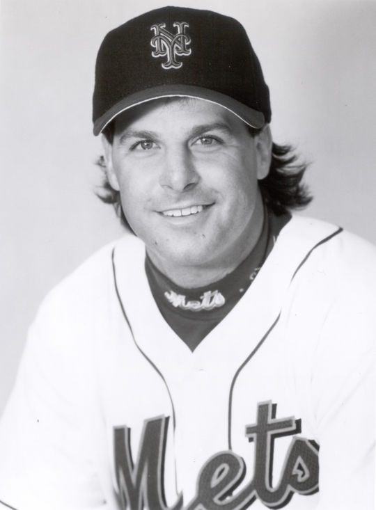 """Turk Wendell was traded to the New York Mets by the Chicago Cubs in 1997 and would remain with the team for five years. <a href=""""http://collection.baseballhall.org/islandora/object/islandora%3A506544"""">PASTIME</a>  (National Baseball Hall of Fame and Museum)"""