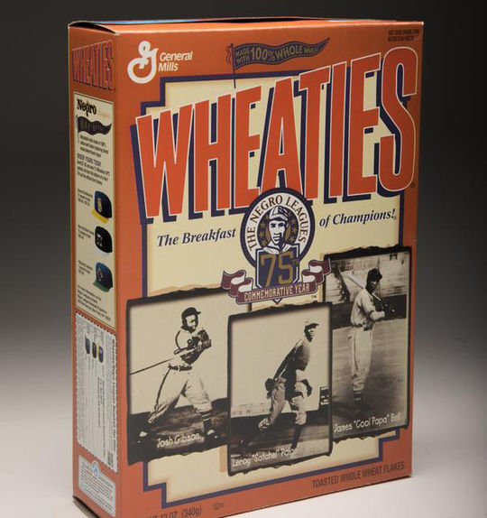 In 1996, iconic breakfast cereal brand Wheaties produced a box featuring Negro Leagues legends Cool Papa Bell, Josh Gibson and Satchel Paige. (Milo Stewart Jr./National Baseball Hall of Fame and Museum)