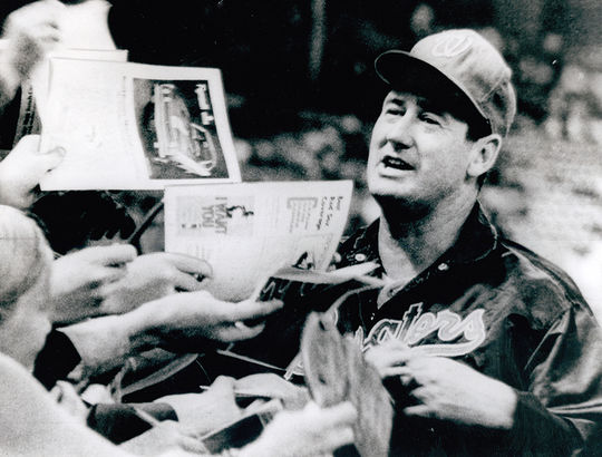 Hall of Famer Ted Williams, pictured above, managed Joe Grzenda during his time with the Senators. (National Baseball Hall of Fame and Museum)