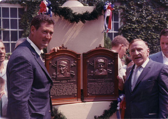 Ted Williams and Casey Stengel pose with their Hall of Fame plaques on Induction Weekend 1966 in Cooperstown. (National Baseball Hall of Fame and Museum)