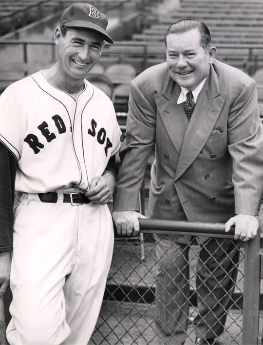 Ted Williams accepted Tom Yawkey's plaque on his behalf. (National Baseball Hall of Fame)