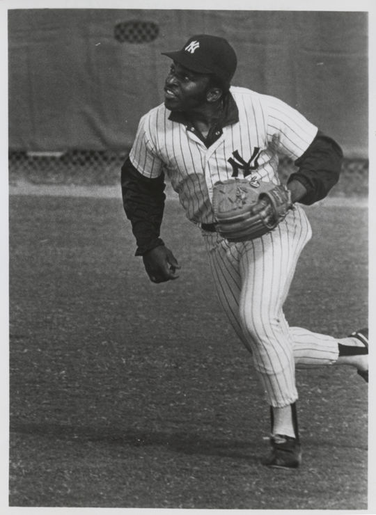 Walt Williams in the outfield as a New York Yankee. BL-1405.75 (National Baseball Hall of Fame Library)
