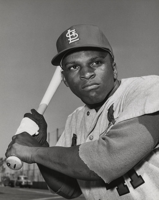 Walt Williams posed batting in his St. Louis Cardinals uniform. BL-5582.70 (National Baseball Hall of Fame Library)