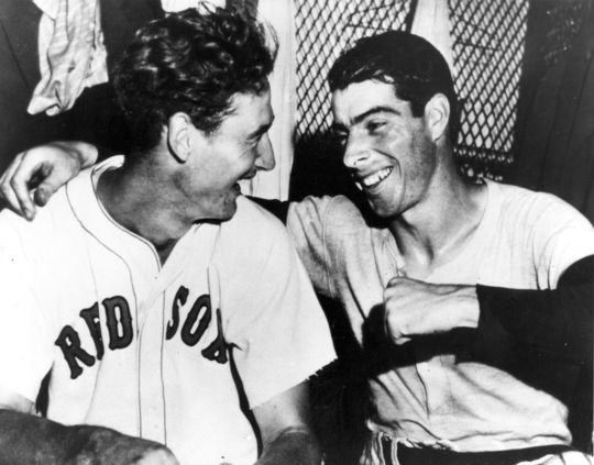 """""""He (Ted Williams) was the best pure hitter I ever saw. He was feared,"""" Joe DiMaggio (right) once said about Red Sox great Ted Williams (left). (National Baseball Hall of Fame and Museum)"""
