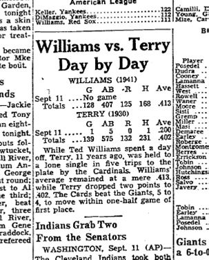 <em>The Boston Globe</em>, due to the nationwide interest in Ted Williams' chase for .400,  started a new daily feature that would compare the daily doings and aggregate totals of the Red Sox slugger that season with those of  Bill Terry of the New York Giants on the corresponding date in 1930. (National Baseball Hall of Fame)