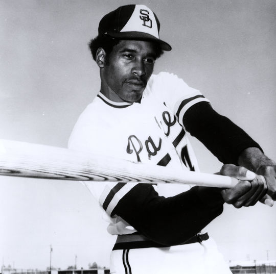 A young Dave Winfield, posing with his bat while playing for the San Diego Padres in 1975. (National Baseball Hall of Fame)