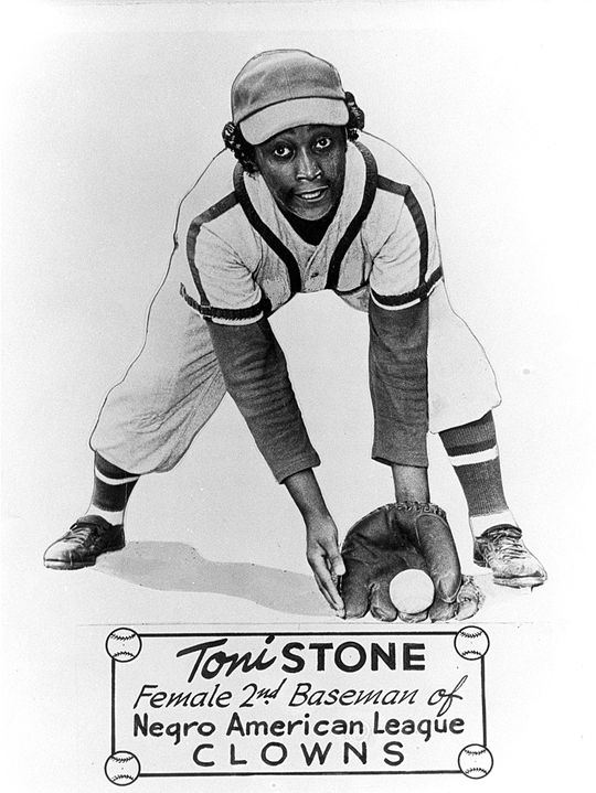 Toni Stone, pictured above, was the first woman to play in the Negro American League. She met aspiring pitcher Mo'Ne Davis in Cooperstown, after Davis donated her Little League World Series jersey to the Museum. (National Baseball Hall of Fame)