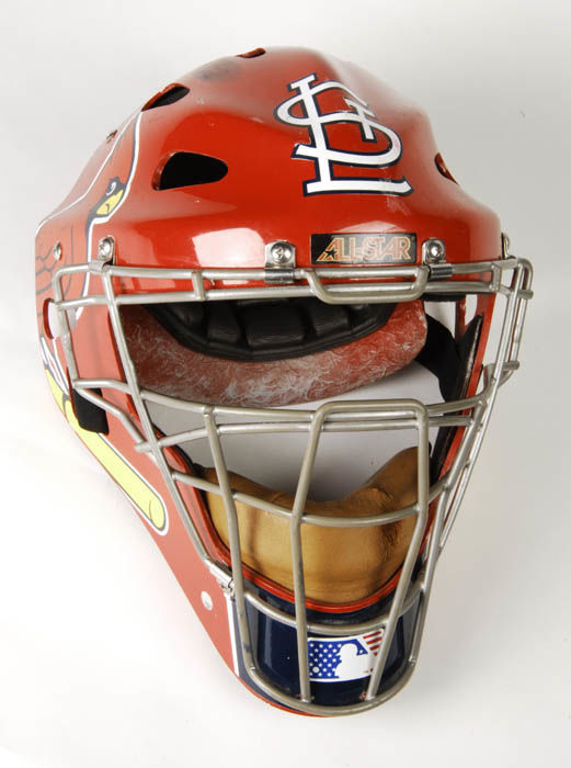 Yadier Molina's catcher's mask worn during 2006 season and World Series. (Milo Stewart Jr./National Baseball Hall of Fame and Museum)