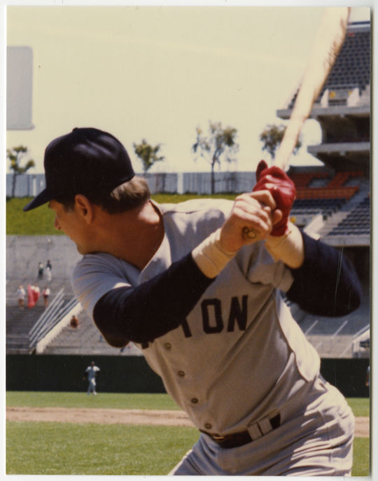 Bobby Tolan liked to hold his hands high, raising his bat well above his head, just like Hall of Famer Carl Yastrzemski (pictured above) used to do in the 1960s and '70s. (Doug McWilliams/National Baseball Hall of Fame and Museum)