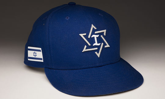Team Israel's Josh Zeid wore this cap during the 2017 World Baseball Classic. In its first-ever WBC, Team Israel placed sixth overall. (Milo Stewart Jr./National Baseball Hall of Fame and Museum)