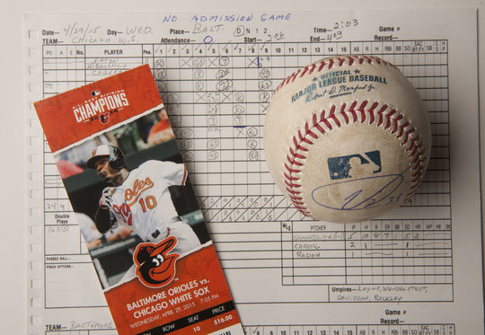 Game ball, ticket and scorecard from the 'zero attendance' game in Baltimore (Milo Stewart, Jr. / National Baseball Hall of Fame and Museum)